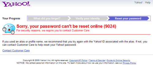 Sorry, your password can't be reset online (9024)