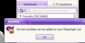 Limita de contacte pe care le poti avea in Yahoo Messenger