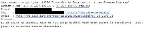 angajat Raiffeisen face spam pe blog
