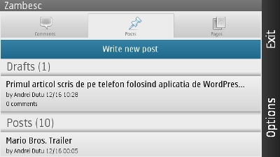 aplicatia de WordPress pentru telefoanele Nokia - ecranul principal