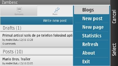 aplicatia de WordPress pentru telefoanele Nokia - menu
