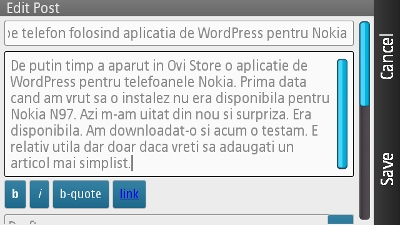 aplicatia de WordPress pentru telefoanele Nokia