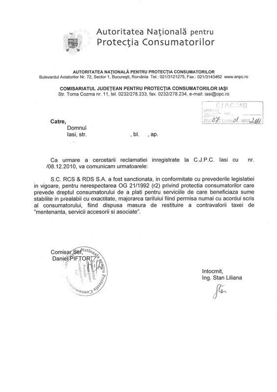 Raspuns ANPC privind reclamatie RDS RCS