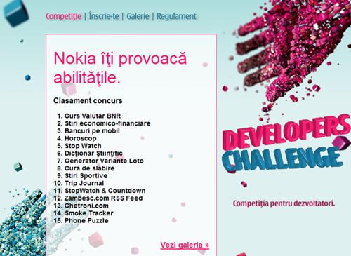 clasament Nokia Developers Challenge